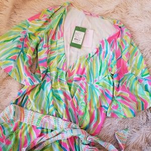 Lilly Pulitzer Madelyn romper Tiki Pink small